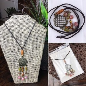 Morocco Filigree Leather Strand Long Necklace